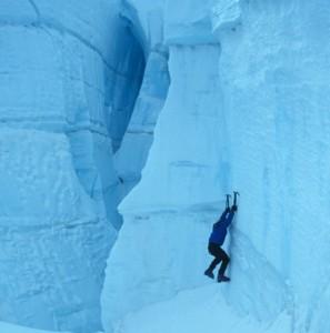 Climbing in the Hotlum Glacier Icefalls