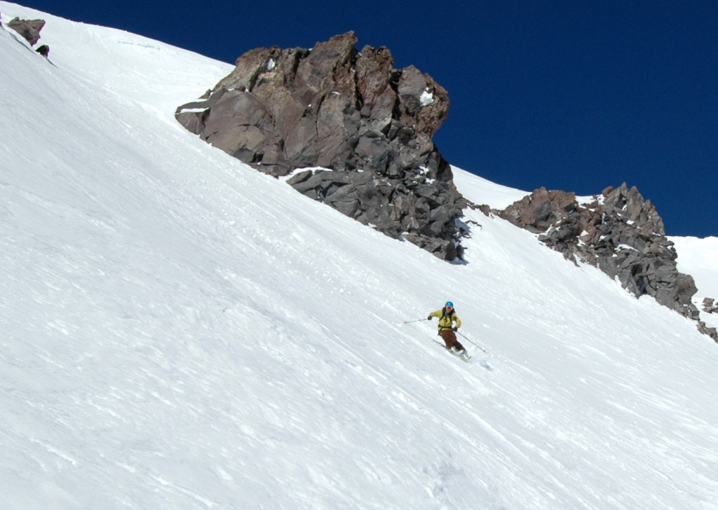 Skiing below Casaval Ridge