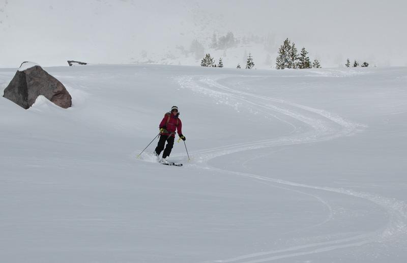 Jenn Carr skis down Avalanche Gulch