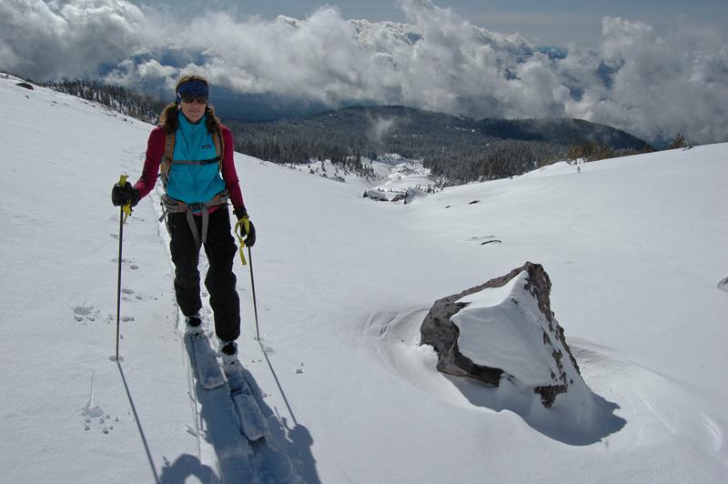Jenn Carr skis up Avalanche Gulch