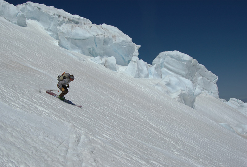 Greg Cunningham skis past the second ice fall