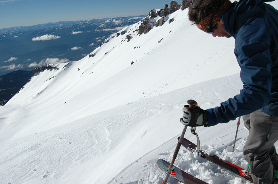 Dane stepping into a 4 mile ski run Avalanche Gulch