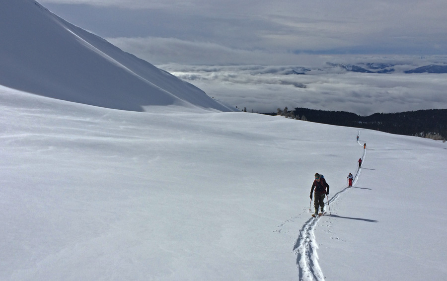 "Clouds lift to reveal 6"" of new snow while ski touring in Avalanche Gulch Mt. Shasta January 2015"