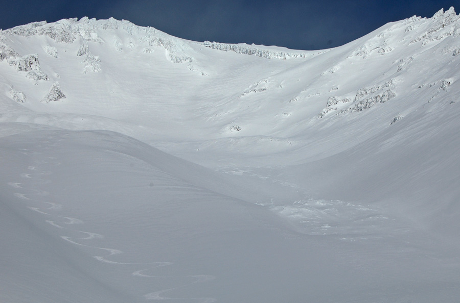 ski tracks and avalanche debris in Avalanche Gulch Mt. Shasta 2.10.15