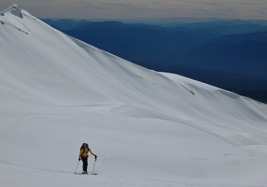 Jenn Carr earning her turns in Avalanche Gulch Mt. Shasta