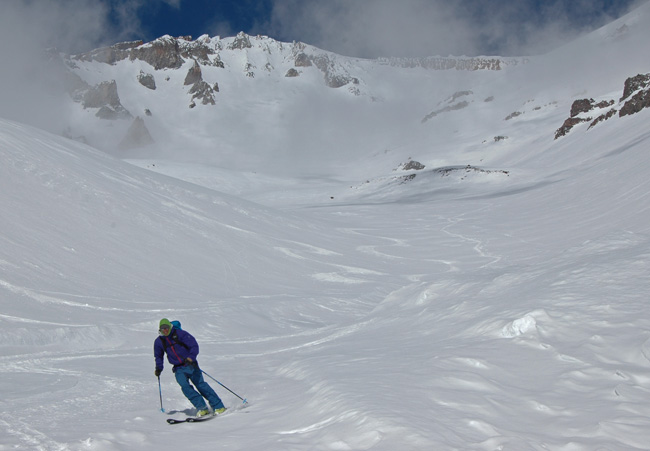 Mt. Shasta local pro Forrest Coots skis around the avalanche debris in Avalanche Gulch March 3rd