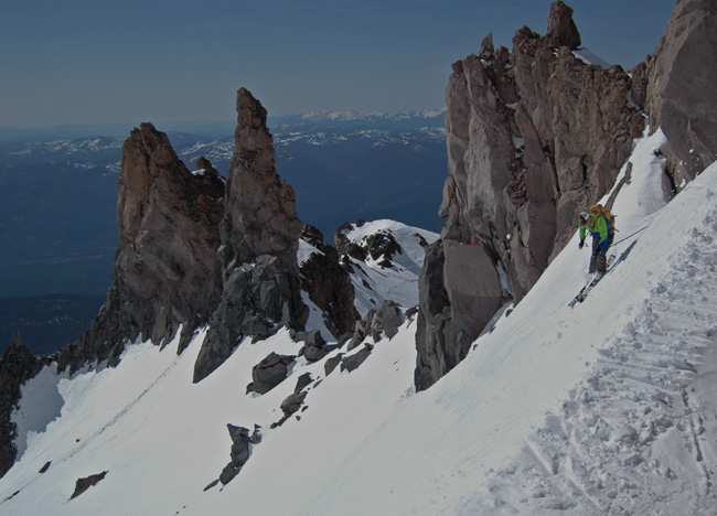 Casaval ridge is a striking feature on Mt. Shasta. Matt descending in good stlye.