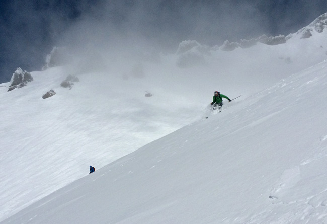 Dropping in from 10,400', variable snow and zero visibility in Avalanche Gulch