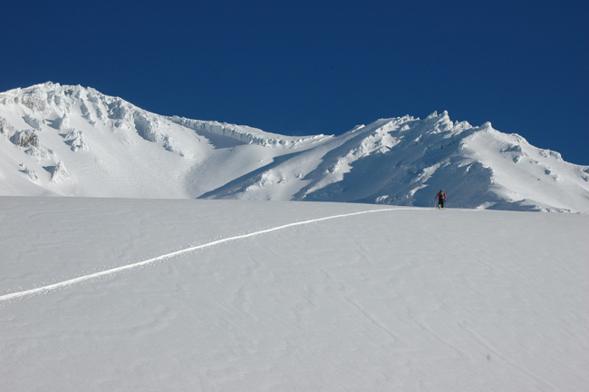 Skiing up Avalanche Gulch