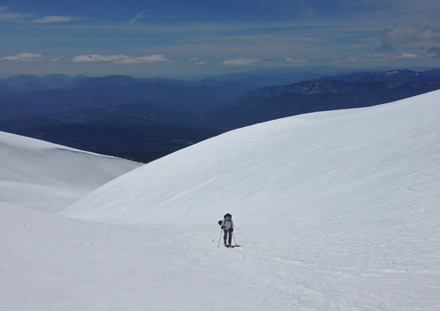 Orly skiing up the lunar landscape of the Lower Gulch