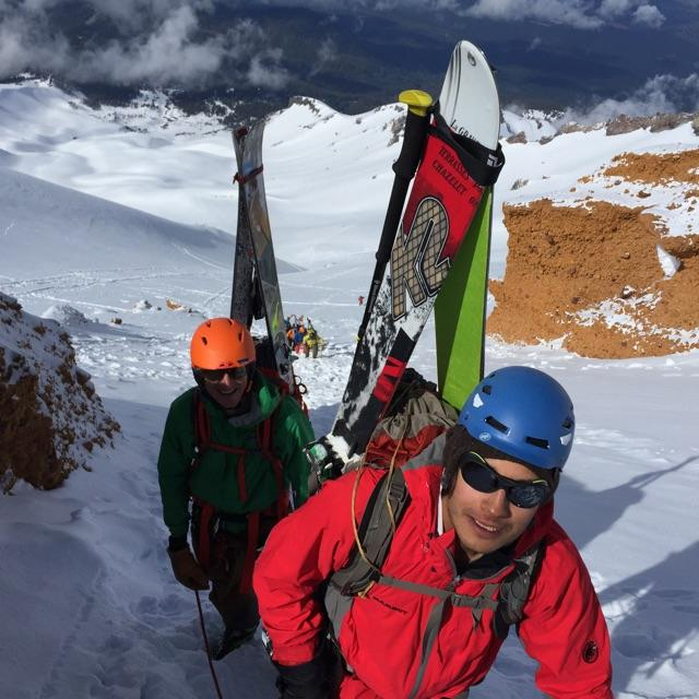 SMG ski group climbs through the Red Banks Mt. Shasta