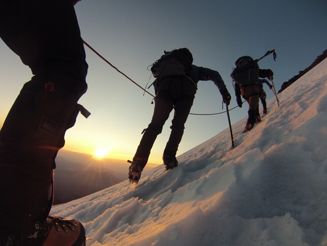 Climbing the Hotlum-Bolam Ridge Mt. Shasta. CA ph: C.L.
