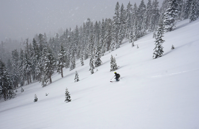 Backcountry skiing Mt. Shasta's lower slopes