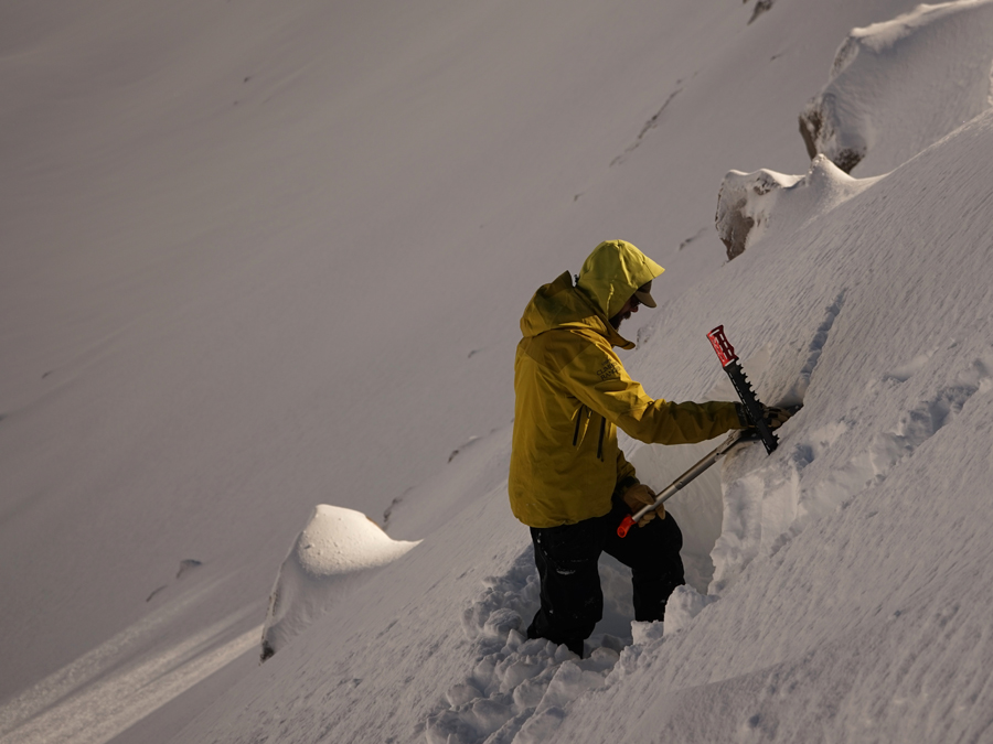 Nick Meyers lead Avalanche Forecaster performs stability tests on Mt. Shasta
