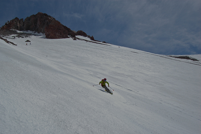Sean Malee surfs the magic carpet of perfect Mt. Shasta corn snow