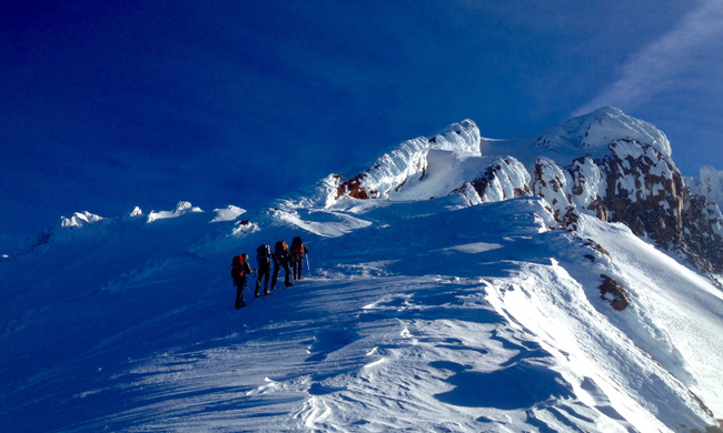Climbers nearing 12,000' Mt. Shasta ph: P. Chu
