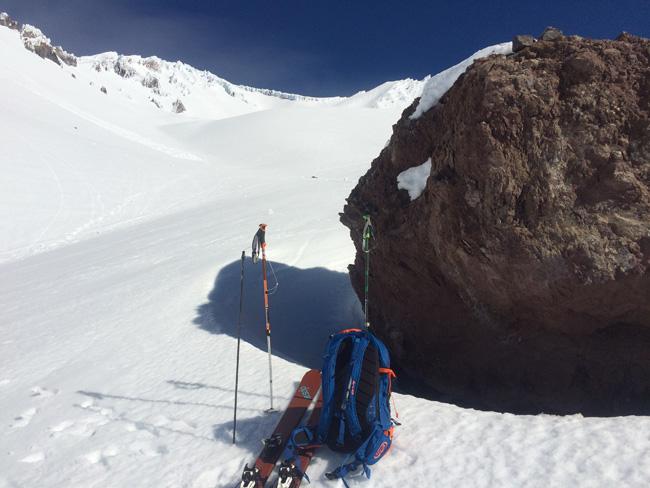 Taking snow depth measurements while touring to Lake Helen