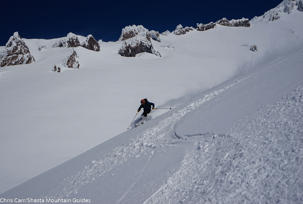 Backcountry powder skiing Mt. Shasta